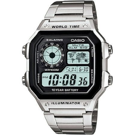 Men's World Time Watch, Stainless-Steel Bracelet