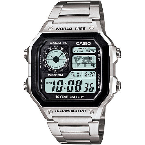 Casio Men's World Time Watch, Stainless-Steel Bracelet