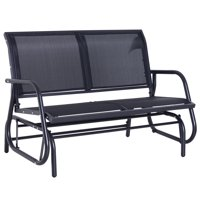 Outsunny Steel Sling Fabric Outdoor Double Glider Rocking Chair Bench - Black