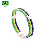 Knitted National Flag Colored Leather World Cup National Football Bracelet 2018 Russia World Cup Unisex Bracelet Fashion Flag Alloy Leather Wristband for Football Soccer Fans Men and Women