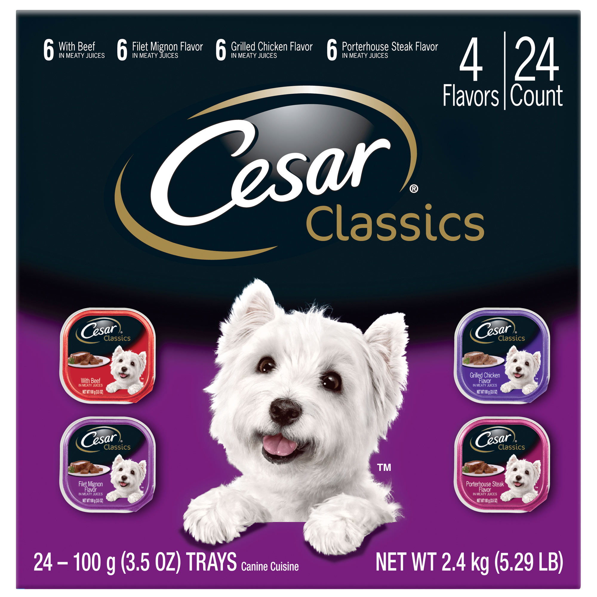 CESAR Canine Cuisine Club Variety Pack Dog Food Trays 3.5 Ounces (Pack of 24)