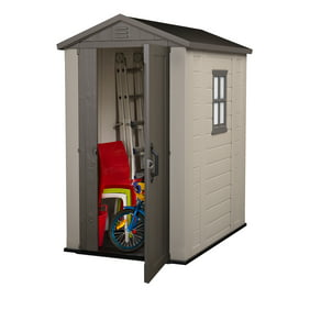 Keter Factor 4 X 6 Resin Storage Shed All Weather Plastic Outdoor Beige Taupe