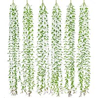 Coolmade 6pcs Artificial Vines Fake Greenery Garland Willow Leaves Artificial Flowers with Total 30 Stems Hanging Plant for Wedding Party Home Garden Wall Decoration