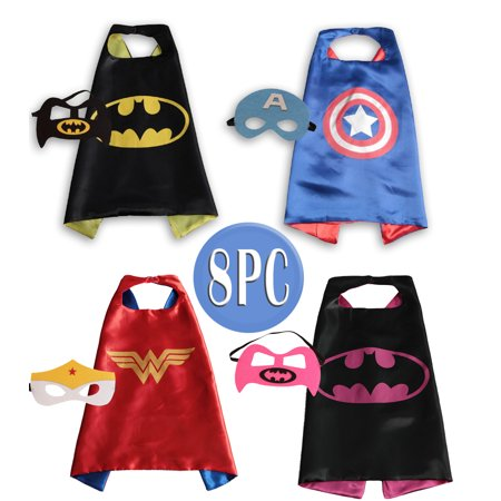 Child Super hero Costume, Cape and Mask Set for Kids, Birthday Party DIY Children (2 girl - 2 boys design)