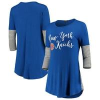 New York Knicks Women's Striking in Stripes 3/4 Sleeve Tunic T-Shirt - Blue
