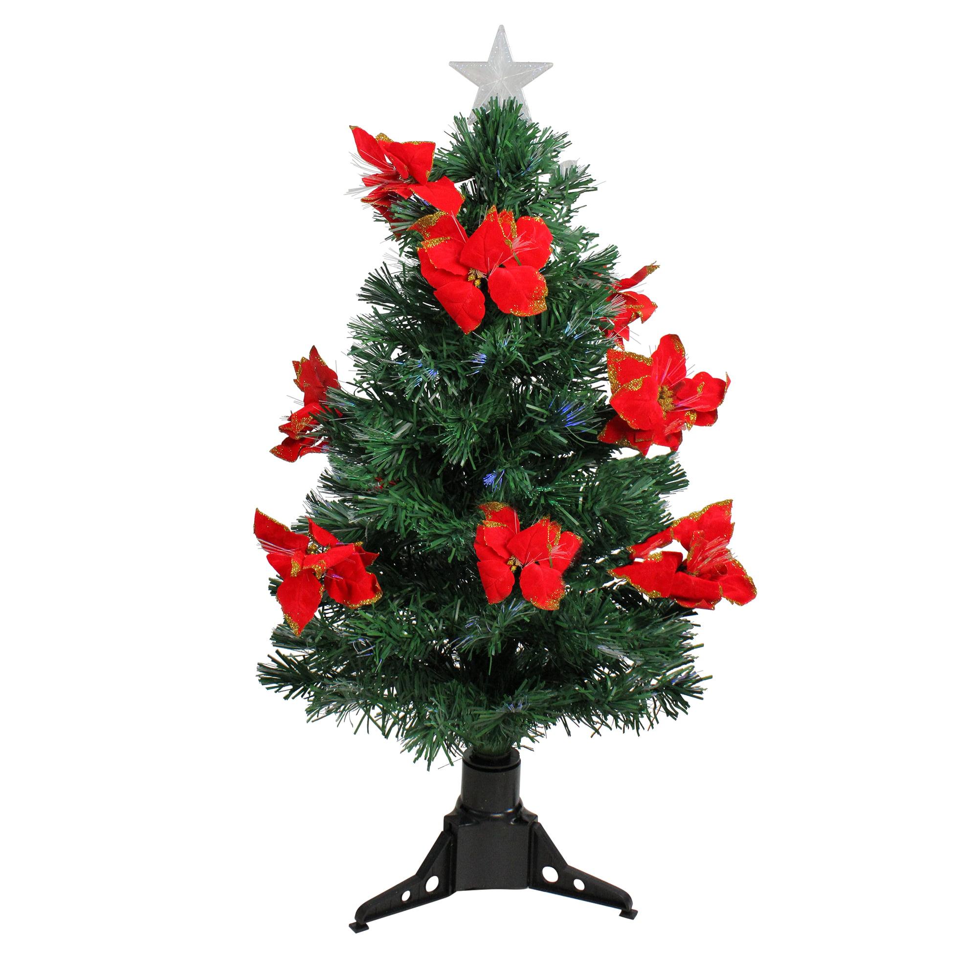 Pointsetta Christmas Tree.Northlight 3 Prelit Artificial Christmas Tree Fiber Optic With Red Poinsettias Multi Lights