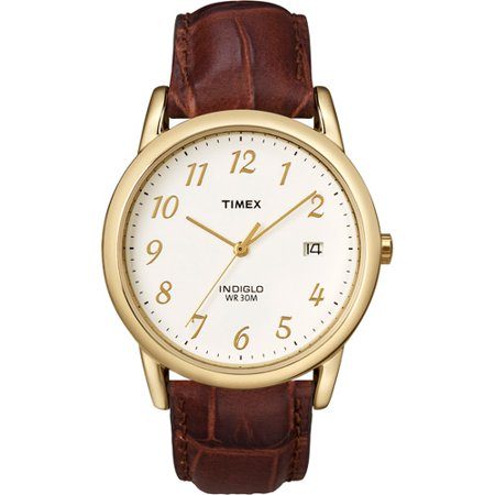 Timex Men's Easy Reader Watch, Brown Croco Pattern Leather Strap