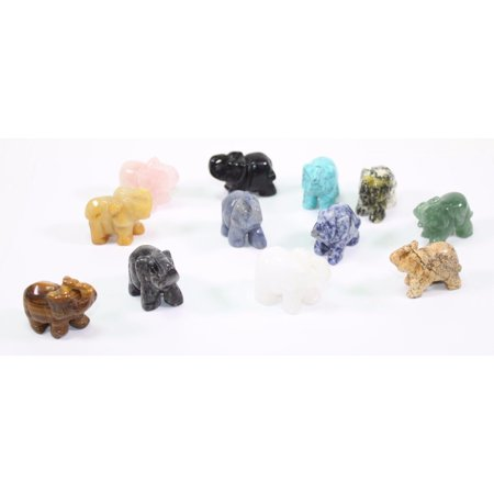 Set of 12 Lucky Gemstone Elephants Made of Various Semi-Precious Stones Feng -