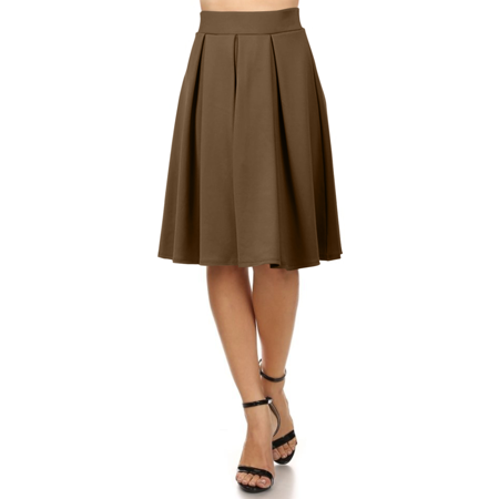 Beige Pleated Skirt (Simlu A Line Midi Skirt Flared and Pleated Midi Skirt for Women - Made in)
