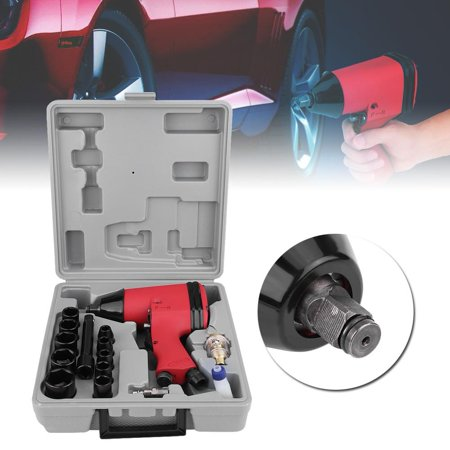 Anauto 17Pcs 1/2  Twin Hammer Air Impact Wrench Gun Set With Sockets + US Adapter + Case, Impact Wrench Gun, Pneumatic Removal