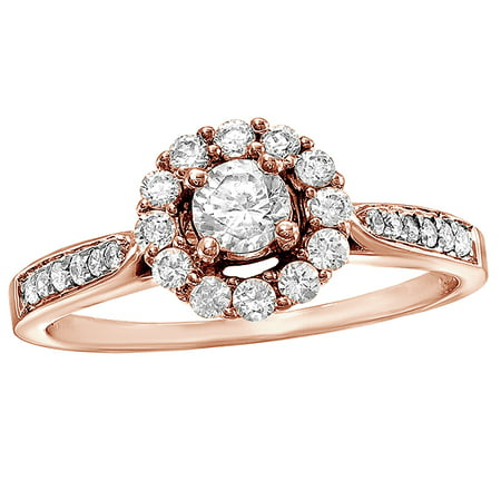 White Natural Diamond Frame Cluster Ring in 10k Rose Gold By Jewel Zone US