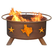 Patina Texas State and Stars Fire Pit with Grill and Cover