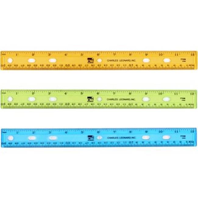 Charles Leonard 2317611 12 in. Plastic Ruler - Translucent Assorted Colors, 36 Per Box - Case of 12
