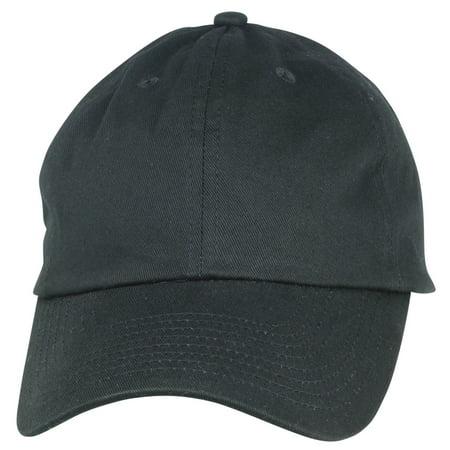 1bad1bda Unisex Cotton Cap Adjustable Plain Hat - Unstructured (14 Colors) (Black)