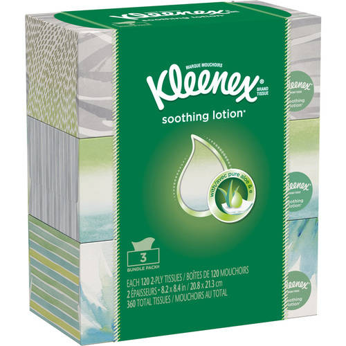 Kleenex Facial Tissues with Lotion, 120 Ct, Pack of 3