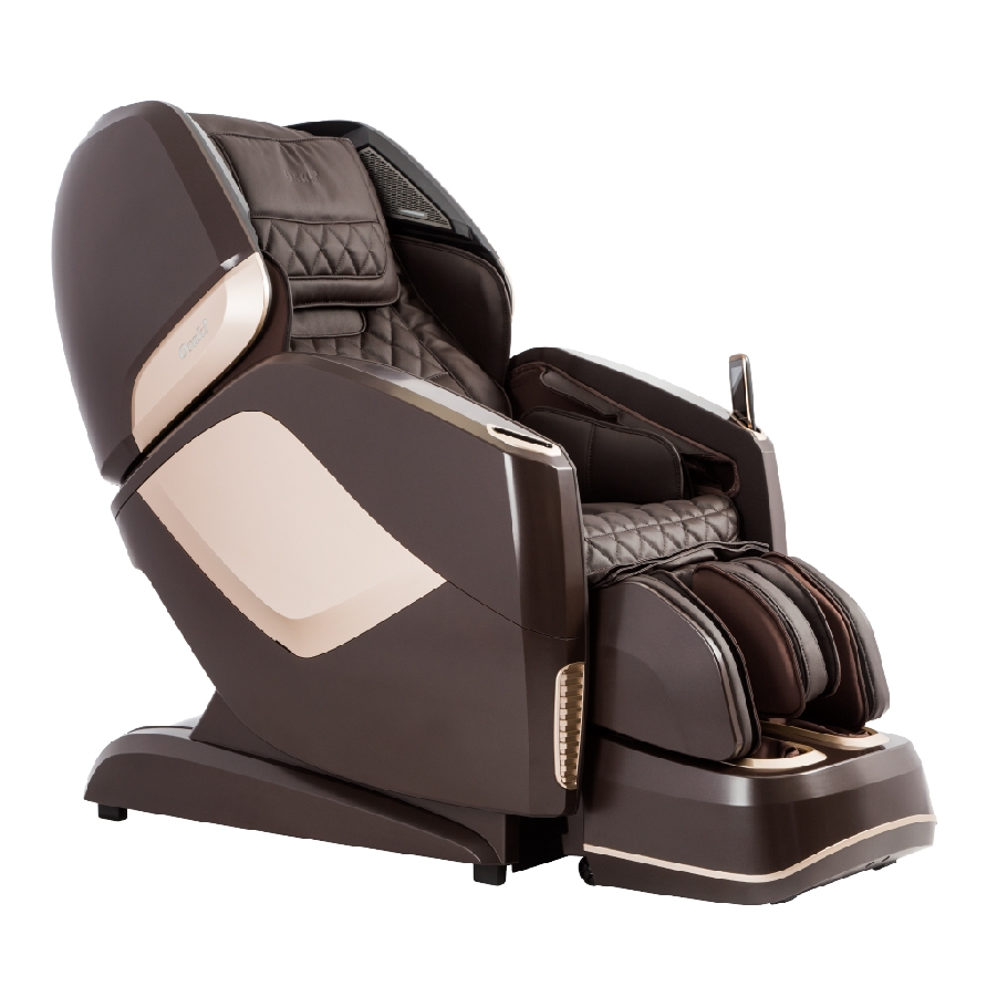 Osaki OS-Pro Maestro 4D L-Track Massage Chair with Foot Roller, Zero Gravity, Space Saving Design, Brown