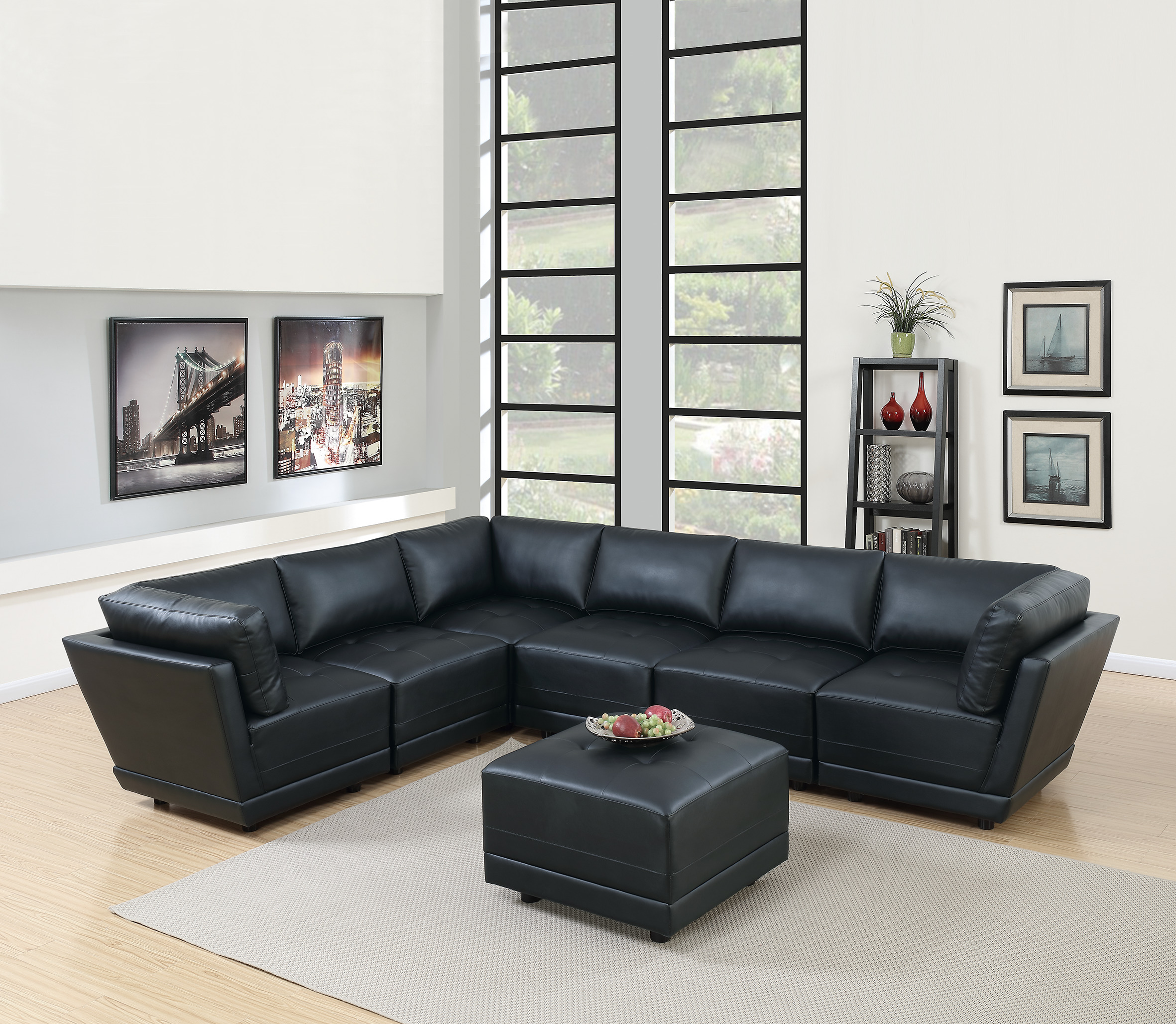 Living room furniture black bonded leather sectional sofa 7pc set tufted couch seat 3 corner wedge 3 armless chairs and an ottoman walmart com