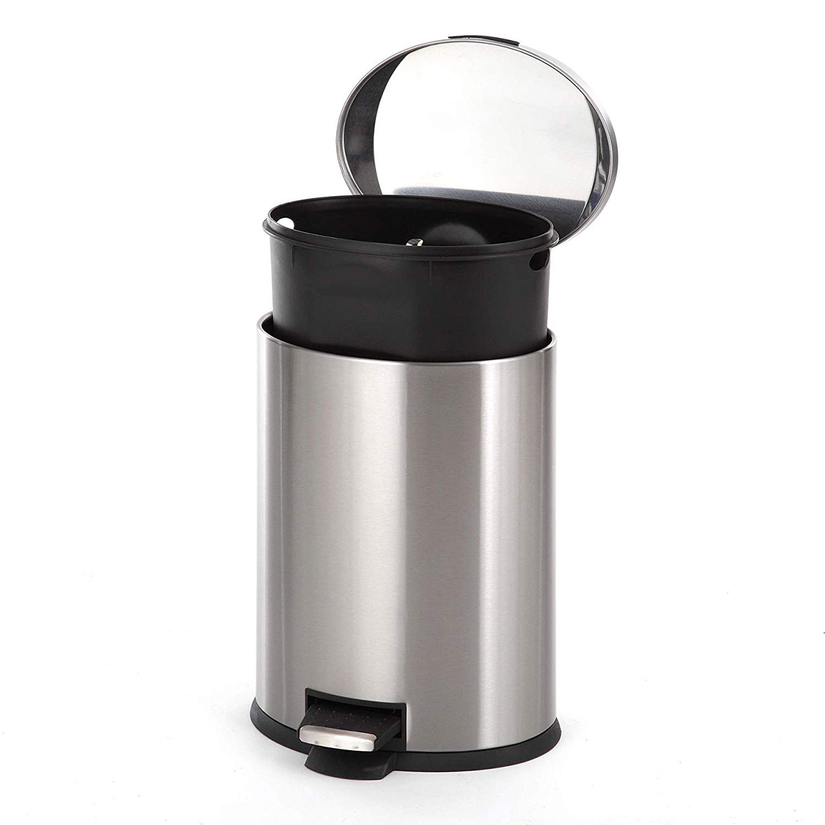 12 Liter Home Zone Stainless Steel Kitchen Trash Can with Oval Design and Step Pedal 3 Gallon Storage with Removable Plastic Trash Bin Liner Silver
