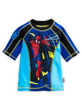 "Disney Store Marvel Spider-Man ""Web surfer"" Blue Multicolor Rash Guard for Boys"