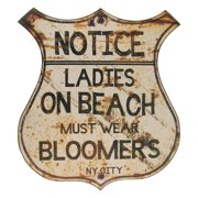 Vintage Style Official NY Beach Sign-WOMEN MUST WEAR BLOOMERS bar/pub wall decor