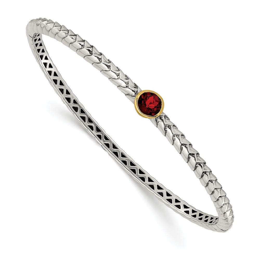 Sterling Silver w 14k 6mm Garnet Bangle Bracelet, Gem Cttw 1.12 by Jewels By Lux