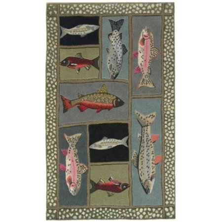 Home Fires AR-CY086E 5 ft. x 7 ft. Mountain Trout Indoor Hand Hooked Area Rug - Sage Green - image 1 of 1