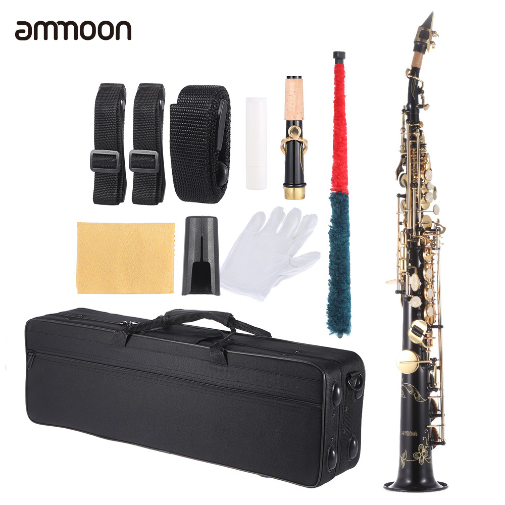 ammoon Brass Straight Soprano Sax Saxophone Bb B Flat Woodwind Instrument Natural Shell Key Carve Pattern