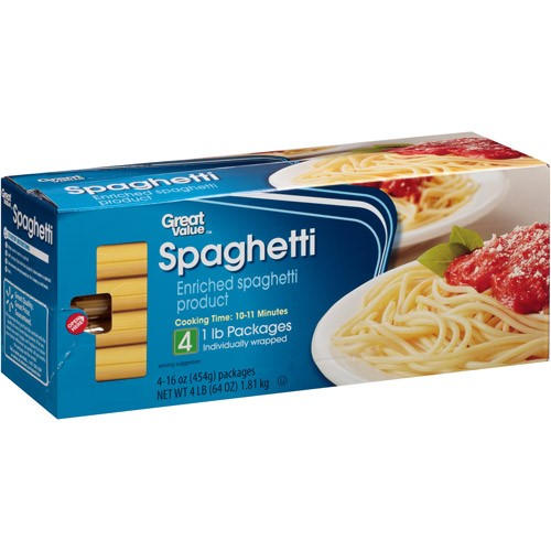 (2 Pack) Great Value Spaghetti Pasta, 1 Lb, 4Ct