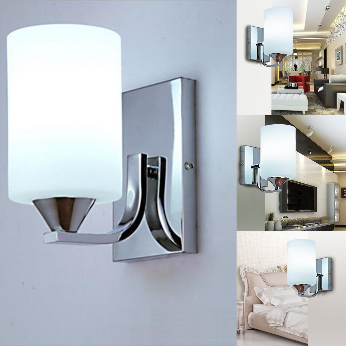 Click here to buy 60W LED Modern White Wall Light Glass Silver Fixture Sconce Indoor Lighting Lamp.