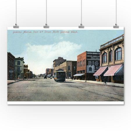 Yakima Washington 4th Street View Of Yakima Avenue 36x54 Giclee Gallery Print Wall Decor