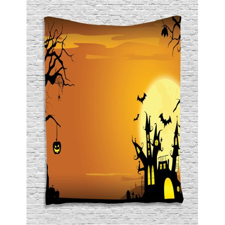 Ambesonne Halloween Decorations Collection, Gothic Haunted House Theme Flying Bats Western Spooky Night Scene with Pumpkin, Bedroom Living Room Dorm Wall Hanging Tapestry, Orange Black - Quilted Halloween Wall Hangings