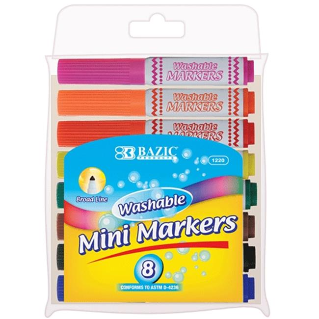 Bazic Products 1220-144 BAZIC 8 Color Broad Line Mini Washable Markers Case of 144