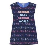 justice league girls' big superhero jersey nightgown, batgirl medium