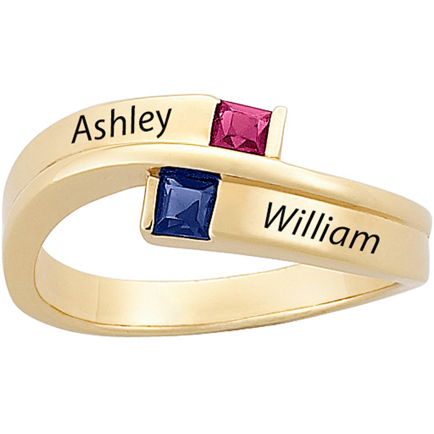 Personalized Gold over Sterling Silver Couple's Square Birthstone and Name Ring