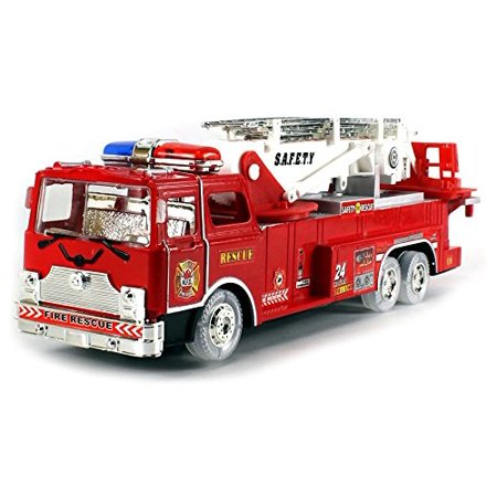 VT Fire Rescue Zero Team Battery Operated Children's Kid's Bump and Go Toy Fire Truck w/ Flashing Lights, Sounds, 360° Rotating Extending Crane, Light Up Wheels