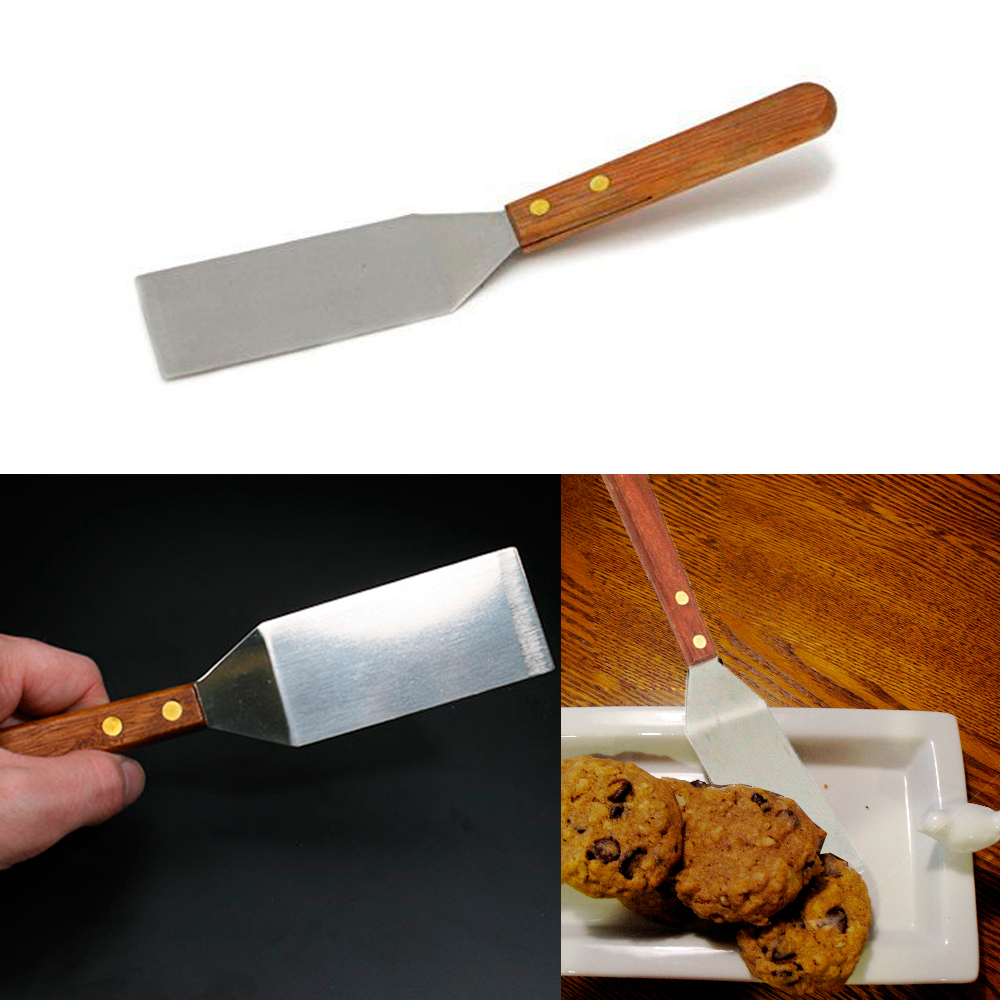 Mini Stainless Steel Spatula Cookie Cooking Kitchen Utensil Server Tool Wooden