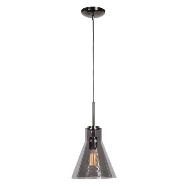 Access Lighting Simplicite One Light Cone Pendant, Black Chrome Finish with Smoke Glass by Access Lighting