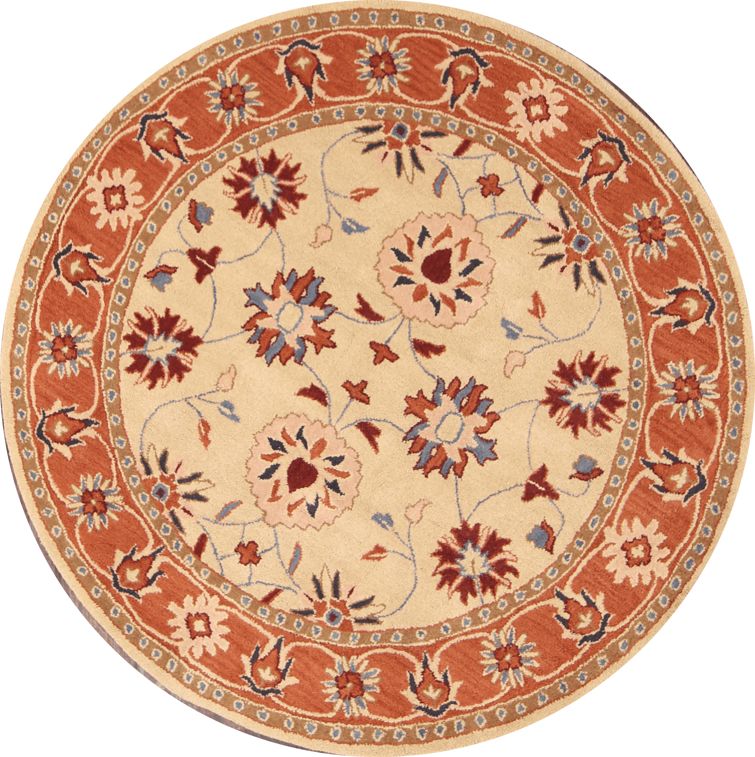 """Rugsource Floral Hand Made Round 8 ft Oushak Hand Made Ziegler Oriental Area Rug (8' 0"""" x 8' 0"""")"""