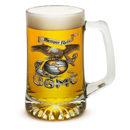 Beer Mugs with Handles – US Marine Corps Tankard Beer Mug – Eagle USMC Clear Marine Gifts for Men or Women – Beer Glass with Logo (25 Ounces)