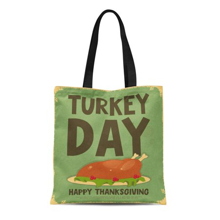 ASHLEIGH Canvas Tote Bag Brown Dinner Thanksgiving Day Retro Roasted Turkey Vintage Autumn Durable Reusable Shopping Shoulder Grocery Bag