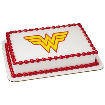 Wonder Woman Logo Edible Icing Image Cake Topper (6 Inch Round)