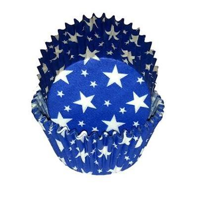 Blue and White Stars Baking Cupcake Liners 50 count - National Cake Supply