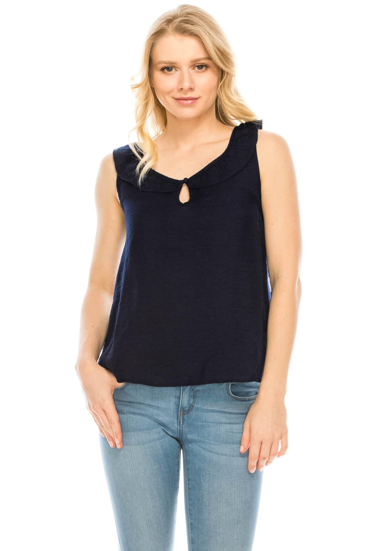 594172c0d0936 Mine - Salt Tree Women s Keyhole Neck Ruffles Sleeveless Shimmer Flare Top  - Walmart.com