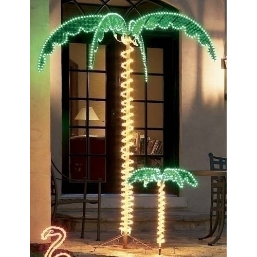 Northlight Seasonal Tropical Lighted Holographic Rope Light Outdoor Palm Tree by Roman