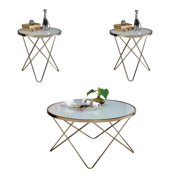Valora 3 Piece Modern Coffee Table and End Table Set in Champagne