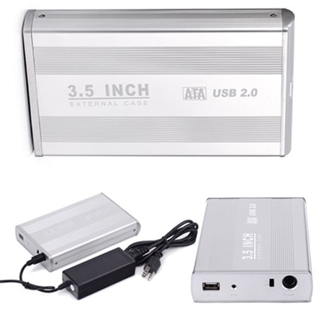 HDE 3.5 Inch SATA Hard Drive Case USB 2.0 Powered External Aluminum Enclosure Silver