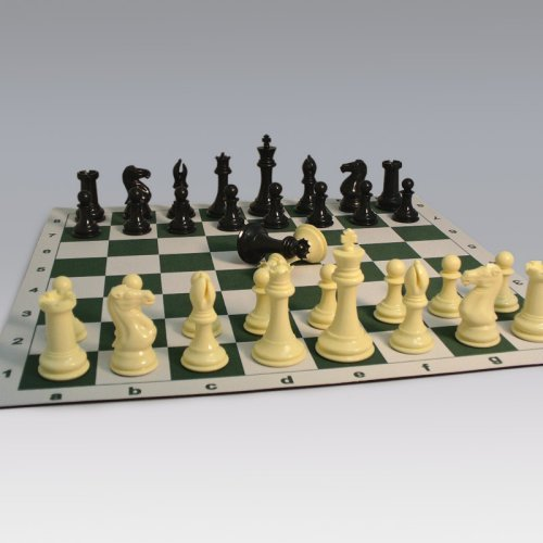 Tournament Chess Set with Roll-Up Chess Board