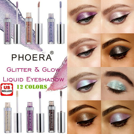 Glittering Eye Color (12 Colors Eyeshadow Liquid Waterproof Glitter Eyeliner Shimmer Makeup)