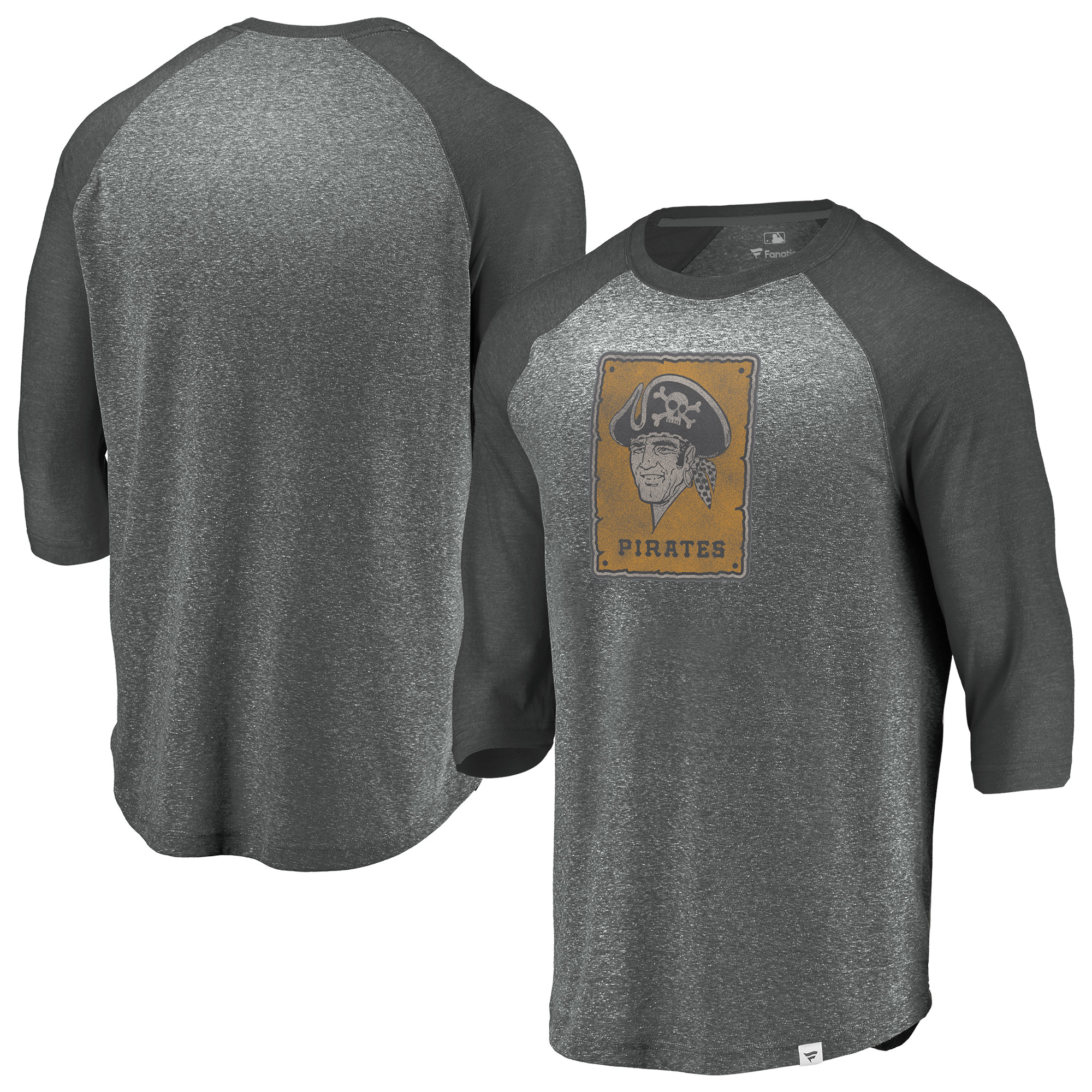 Pittsburgh Pirates Fanatics Branded Cooperstown Collection Massive Devotees Tri-Blend Raglan 3/4-Sleeve T-Shirt - Heathered Gray/Charcoal