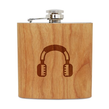 Cherry Headphone - Headphones 6 Oz Wooden Flask (Cherry), Stainless Steel Body, Handmade In Usa